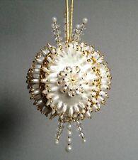 Kit WHITE INFINITY Gramma's Old Attic Christmas Ornament Satin Silk Foam Ball