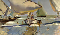 Oil painting Boats on the Shore seascape Joaquin Sorolla y Bastida no framed 36""