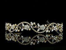 Gold Bridal Flower Vines Rhinestone Crystal Wedding Tiara Headband 7597