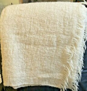 Vintage Cream color Mohair Throw/blanket made in Scotland for Saks Fifth Avenue