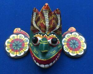 1960's Ceylon Handmade mini Wall Mask Decor Sculpture Traditional Demon