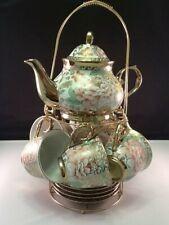 Porcelain Tea Coffee Set Pot 2 oz Cup Saucer Rack Quality Demitasse Spoon