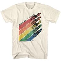 Back to The Future Movie DeLorean Men's T Shirt 70's Retro Rainbow Racing Trails