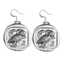 Athena's Owl Coin-Shape Pewter Earrings by Oberon Design COMBINED SHIPPING
