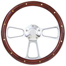 Hot Rod Street Rod Rat Rod Truck Real Wood & Billet Steering Wheel & Horn