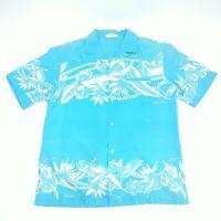 Aloha Hawaiian Fashions Mens Large Button Up Shirt Blue Vintage Short Sleeve