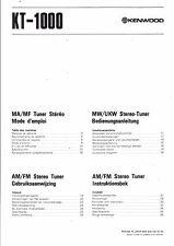 Kenwood Bedienungsanleitung user manual owners manual  für KT- 1000  Copy