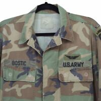 US Army Shirt Jacket Warm Weather Woodland Camo Bostic Airborne Medium 90s Patch