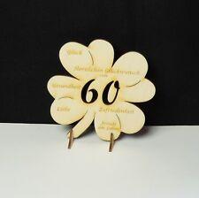 60 Geb. Geschenk Diamantene Hochzeit Kleeblatt mit Glückwünsche Jubiläum 11cm