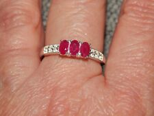 AFRICAN RUBY & WHTE TOPAZ TRILOGY RING-SIZE O-1.250CTS-STERLING SILVER 925