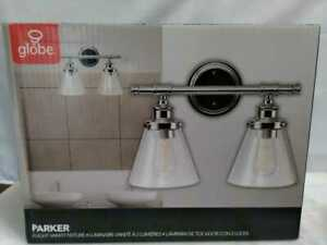 Globe Electric Parker 2-Light Chrome Vanity Light with Clear Glass Shades