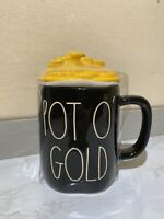 "New RAE DUNN St Patricks Day LL ""POT O' GOLD"" Black Mug With Gold Coins Topper"