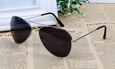 SILVER Frame nero lente Aviatore Retrò Classico Occhiali Da Sole UV400 Uomo Donna Regno Unito