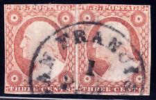 """#11A - 3 Cent 1851-7, pair 7-8L1L, black """"SAN FRANCISCO 1 FEB CAL"""" CDS, worn '55"""