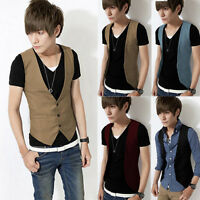 Men Casual Formal Slim Fit Business Waistcoat Dress Vest Tops Suit Tuxedo Jacket