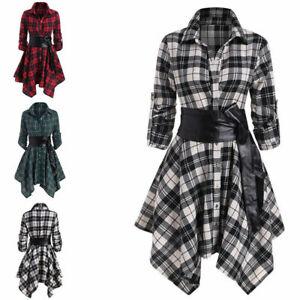 Womens Irregular Hem Plaid Midi Dress Lady Casual Belted Button-down Shirt Dress