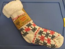 Womens Thick Knit Sherpa Lined Cozy Thermal Fuzzy Slipper Socks White/Black/Red
