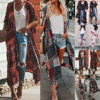 Women Vintage Kimono Cardigan Boho Beach Chiffon Blouse Tops Cover up Long Coat