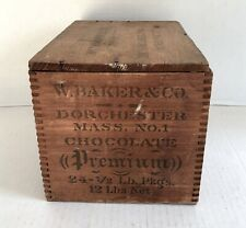 ANTIQUE Walter BAKER&CO Advertising CHOCOLATE Wooden Crate/BOX-Dorchester MASS