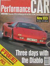 Performance CAR 03/1992 Lancia Integrale, Cosworth, Lamborghini, Subaru Legacy