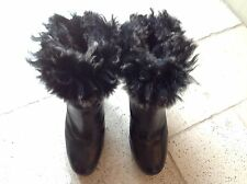 Italian calf leather designer black platform ankle boots with sheepskin lining
