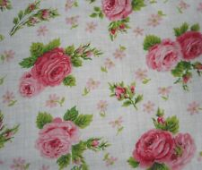 Vintage 1950's Cottage Roses Cotton Fabric #1~ Pink Green
