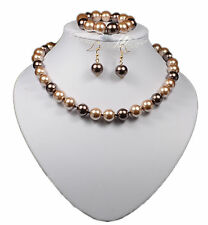 TWO TONE BROWN GLASS PEARL  NECKLACE EARRING & BRACELET SET