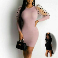 Dresses Womens Party Evening Bodycon Mesh Dress Ladies Long Sleeve Mini Puff