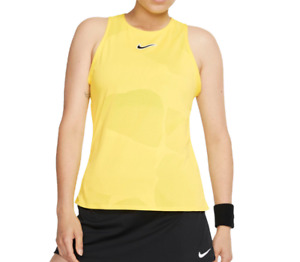 NikeCourt Tennis Tank Top Womens Authentic Open Back Slim Fit Yellow Training