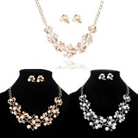 Fashion Charm Jewelry Crystal Pearl Choker Collar Statement Bib Necklace Chain