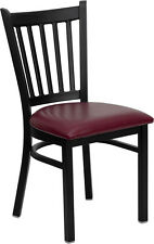 10 Metal Vertical Slat Restaurant Chairs Burgundy Seat
