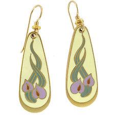 NWT Retired Laurel Burch WILD ANTHURIUM Matte Cloisonne & Gold Floral Earrings