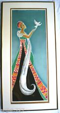 "Rare Artist SignedSilk Painting ""SET ME FREE"" Woman Bird Art Deco 36""x18"" Framed"
