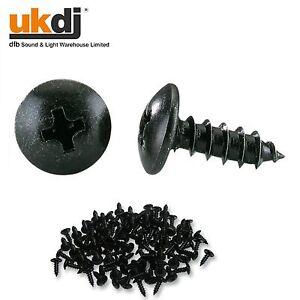 100 x Self Cutting Black Screws 4 x 12 - 32mm Recessed Hex Flat Head Wood Screws