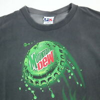 Vtg 90s Mountain Dew T-Shirt XL Nicely Faded Black Distressed Trashed USA Made