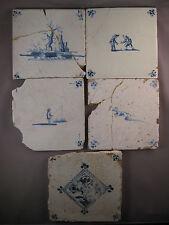 5 beschädigte antike Niederländische Fliesen Kachel Dutch Tiles 17-18 Jh. Nr.2