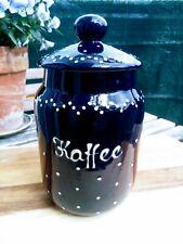 Echt Bürgeler Keramik Kaffeedose dunkelblau Vorratsdose mit Deckel 22x9cm