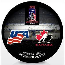 2018 World Juniors Championship IIHF Hockey Puck - USA vs Canada 12/29/2017