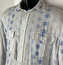 Carbon 2 Cobalt Casual Shirt Button Up L/S Plaid Check Blue White Made India M