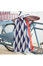John Robshaw Rana Hammam Indigo Beach Towel, 100% Cotton, 40x70in, Blue