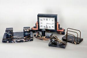 Art Deco Henry Birks and Sons Ltd. Clock Black Marble Five Piece Desk Set