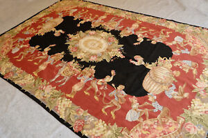 6' X 9' Needlepoint Carpet Beautiful Chic Shabby Monkey Rooster Aubusson Design