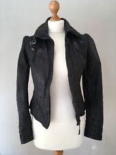 All Saints Black Leather Bomber Jacket Size UK 8/ US 4