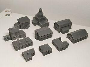 6mm Scale Wargame Terrain Scenery Russian Village Buildings – 10 items