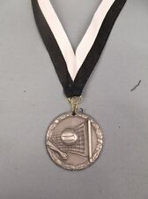 silver  Volleyball medal with black/white neck drape trophy award
