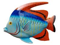 "Large 10"" x 7.5"" ACRYIC Resin Decorative Indoor/Outdoor Tropical Fish Wall Decor"