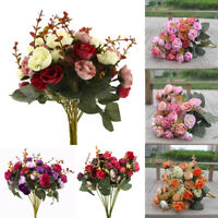 2 Bouquet 42 Head Artifical Plastic Rose Wedding Office Home Decor Silk Flower