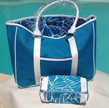 LANCOME PARIS Set Of 2 Handbag Woman Blue/ White Floral NEW