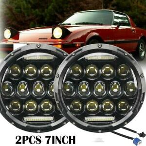 2x 7'' Inch DOT LED Headlights High Low DRL Project Vehicles For Mazda RX-7 1985