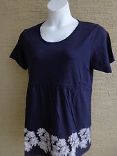 Being Casual Cotton Blend Jersey Knit S/S Baby Doll Top 1X Navy